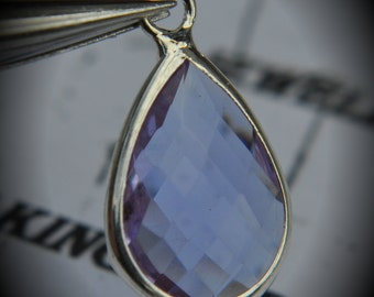 Silver Plated Bezel Brass Faceted Glass Tear Drop Pendant - Tanzanite