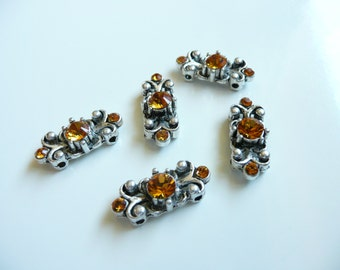 Swarovski Crystal Antique Silver Plated 2-Hole Slider Bead- Topaz Yellow- 8 x 20mm-Also Sapphire Blue Jet Black Peridot Green Topaz -5 piece