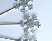 10 Silver Glitter Snowflake Cupcake Toppers.  Winter Wonderland Party. Cupcake Decor. Winter Birthday Theme. Winter ONEderland. 1st Birthday