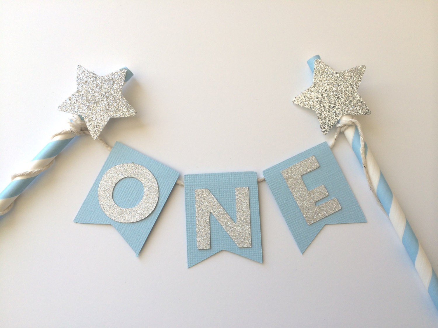 The Original Blue and Silver Glitter Cake Topper with Star