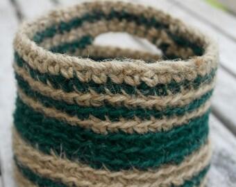 SALE Rustic Jute Crochet Doorknob Basket, Hanging Holder, Desk Organizer Bin, Hostess Gift,  Jute Crocheted Bin, Door Knob Storage Basket