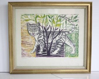 Vintage original Pat Jackson cat woodcut print