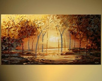 """Modern 60"""" Landscape Palette Knife Painting Gray, Rust, Acrylic Blooming Trees Painting by Osnat - MADE-TO-ORDER"""