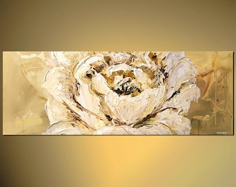"White Flower Painting Large Blossom Painting Modern Palette Knife by Osnat - MADE-TO-ORDER - 60""x24"""