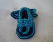 Crocheted Baby Flip Flop Sandals in Shades of Blue - Made to Order