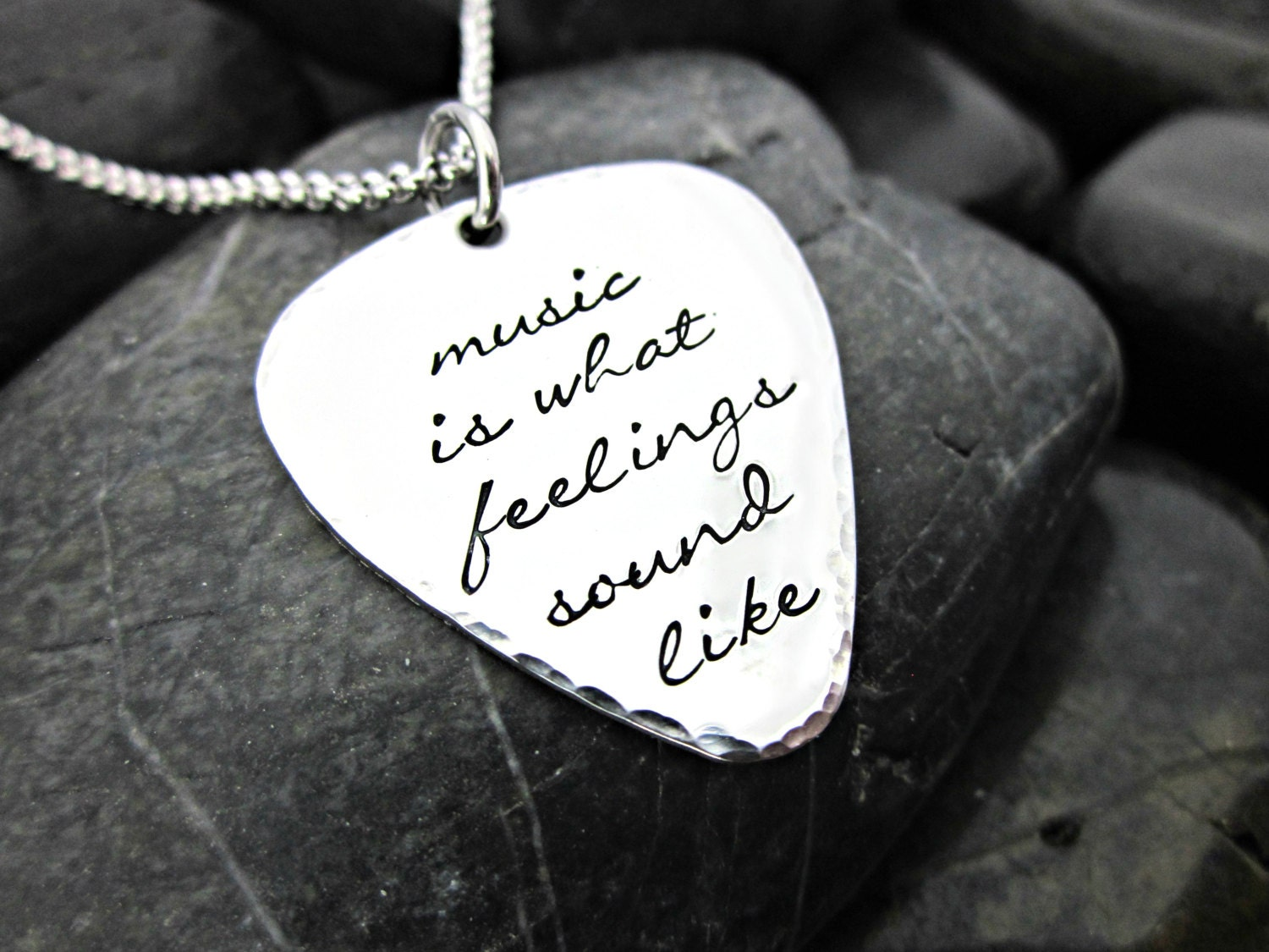 music is what feelings sound like guitar pick necklace