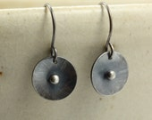 Hammered Silver Disc Earrings with Silver Balls, Dangle Earrings, Sterling Silver Earrings, Oxidized Silver, Hammered Silver Earrings