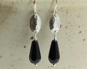 Black Onyx Earrings with Hammered Sterling Silver, Southwestern Earrings, Black Earrings, Hammered Silver Earrings