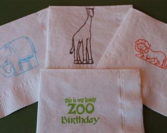 40 Birthday PAPER NAPKINS Zoo Birthday Party Decorations Zoo Animals Zoo Birthday Party Napkins Lion Giraffee First Birthday Safari Birthday