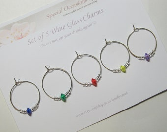 Set of 5 Wine Glass Charms For Your Special Event