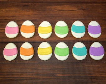 Decorated Cookies - Easter - Easter Eggs- 1 DOZEN