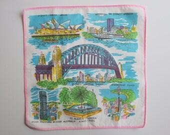 Australia Souvenir Handkerchief Sydney Harbour Opera House Watercolor Vintage Hanky