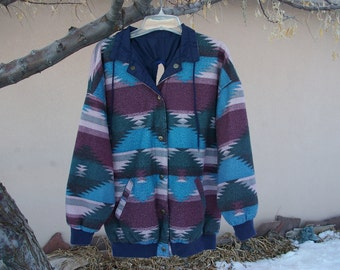 Handicapped Acsesible Clothing Womens Navy Blue Wind Breaker or Southwestern Print Fleece Reversible Backwards Jacket