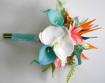 Maid of Honor/Bridesmaid Beach Bouquet in Coral,  Aqua Green with Real Touch Callas, Orchids, Plumeria and Bird of Paradise.  Design #107A