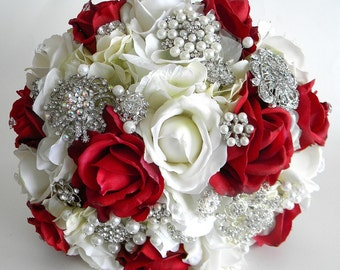 Elegant Brooch Bouquet in Red and White with Real Touch Roses.