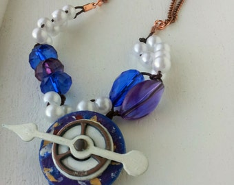 Arrow Necklace with Spinning Arrow in Purple and White, Floral Pattern, Beaded with Leather and Copper Chain, Traveler Jewelry,