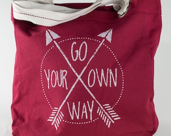 Canvas Cotton Tote - Go Your Own Way- Red