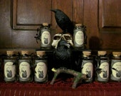 Set of 8 ~ The Crows and the Cauldron Herb Jar and Label Collection: CUSTOM HERB LABELS and Jars - Crows, cauldron, apothecary, vintage