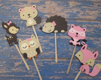 Girl Woodland Creatures - Woodland Cupcake Toppers, Pinks and Browns, Pink Woodland, Woodland theme, baby shower