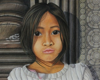 Girl From Cambodia ORIGINAL Colored Pencil Drawing