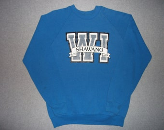 80s 90s Vintage Blue Shawano Wisconsin Sweatshirt Hipster Made In USA Winter Warm Sweater Made In USA XXL Extra Large