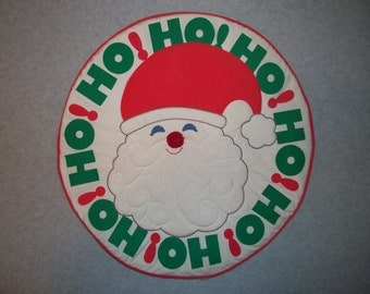 Vintage Ho! Ho! Ho! Santa Claus Merry Christmas Wall Hanging or Table Centerpiece Tacky Gaudy Ugly Christmas X-Mas Sweater Party Decoration