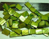 PRICE DROP - Destash - Mother of Pearl - olive green - flat rectangles - beads SP633