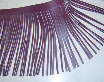 Genuine leather fringes burgundy - real leather fringes - tassels fringes 6x12