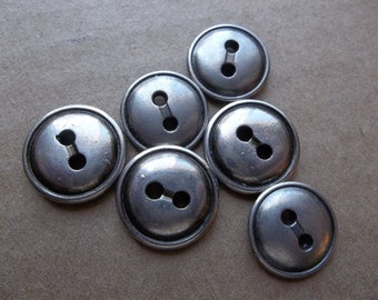 eco friendly silver tone metal slightly domed buttons with black edged rims--two sizes--same design--lot of 6
