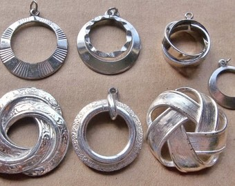 eco friendly round silver tone metal components for creating assemblages and ooak jewelry--mixed lot of  7