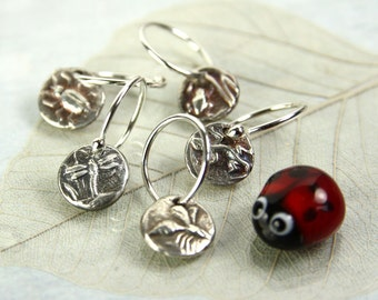Dragonfly Charm Earrings - Tiny Fine Silver Dangles with Animal Totem Motifs - Sterling Hoops