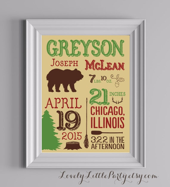 Customized Rustic Woods Theme Nursery Print - LOVELY LITTLE PARTY