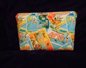 Olaf make up bag/clutch/ zippered pouch