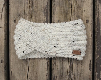 women's twisted style knit headband in speckled cream