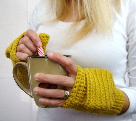 Honey Gold Mittens, Convertible Fingerless Mittens, Crochet Convertible Gloves, Honey Gold Gloves, Autumn Mittens, Yellow Fingerless Mittens