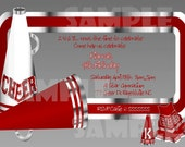 Red and Silver Cheerleading Birthday Invitation