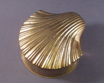 Brass Clam Shell Vintage Hinged Lid Box Made in India