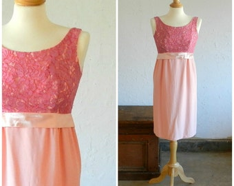 60's PINK PARTY DRESS - Lace and Satin / Empire Waist / Wedding / Formal / Jackie Kennedy / Mad Men / Cocktail / Size Small