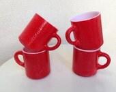 Sale Vintage set 4 red glass milk mugs 8 oz