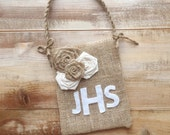 Burlap Flower Girl Bag With Cream/Natural Rosettes & Monogram-Personalize-Add Your Monogram-Weddings-Rustic/Shabby Chic/Beach Wedding