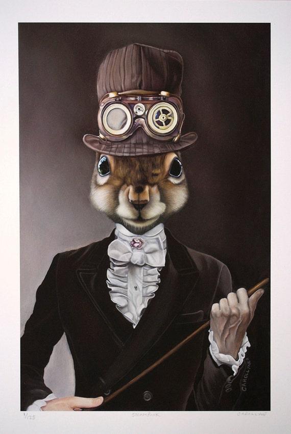 Fine Art Print: Steampunk Squirrel Hat Clothing Goggles Pop Surrealism Art