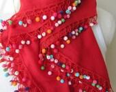 Red cotton gauze-yemeni square, pom pom- Turkish OYA scarf, crochet scarf, unique handmade scarf -women's scarves-scarves2012