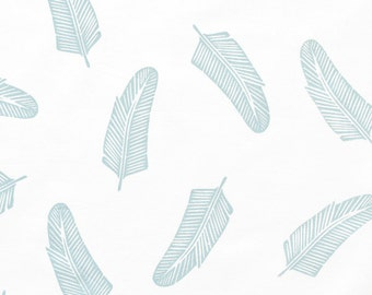 Quill in Cirrus Blue : organic cotton handprinted fabric panel