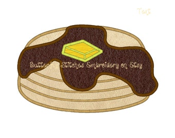 Pancakes Syrup Breakfast Machine Embroidery Digital Applique Design