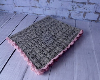 100% Wool EASY CARE Heirloom Crochet Shell Stitch Baby Blanket - Heather Grey and Pink or All Heather Grey - High Quality Superwash Wool