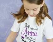 """Frozen """"Step Aside Anna, There's a New Princess in Town"""" Embroidered T-shirt for Girls - Purple - Movie - Gift - Party - Birthday - Theme"""