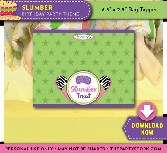 Slumber Party Treat Bag Topper Printable Candy Bag Toppers