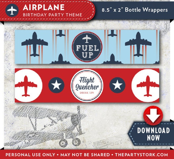 Airplane Water Bottle Labels Wrappers Printable Birthday