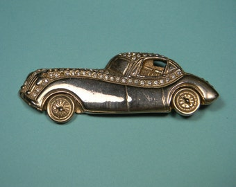 Snazzy Sports Car Brooch, Gold Tone, Rhinestones, Vintage Figural