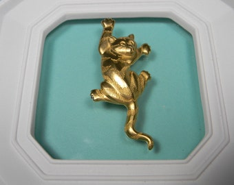 J.J. Cat Brooch or Pin, Signed, Dated 1988, Vintage Figural, Jonette Jewelry